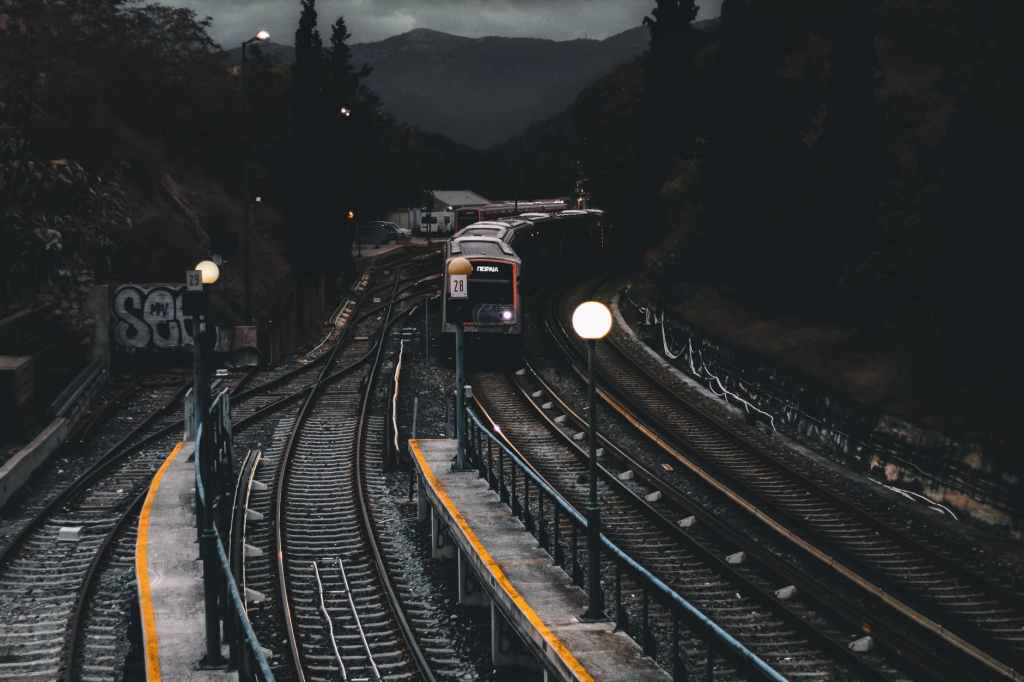 train on railways during nighttime